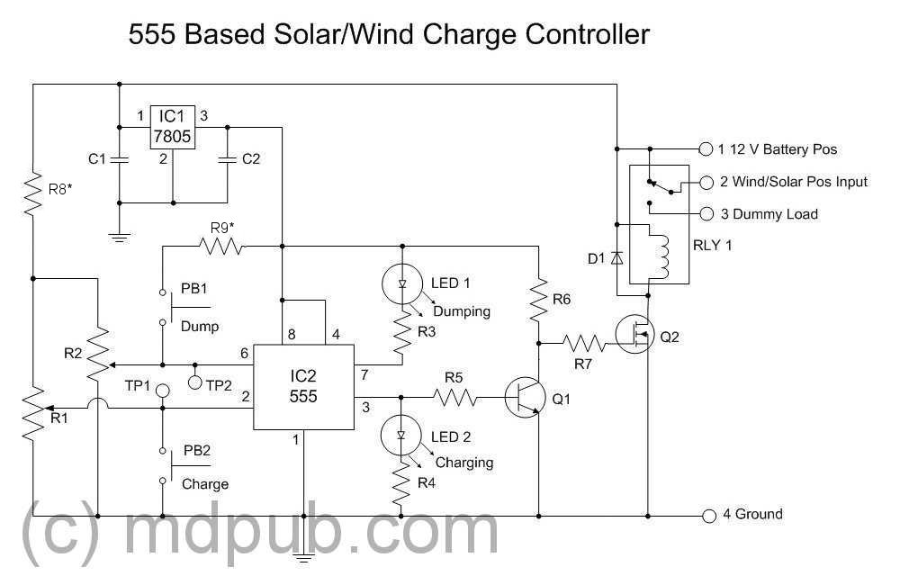 a new solar wind charge controller based on the 555 chip the schematic of my new 555 based charge controller circuit
