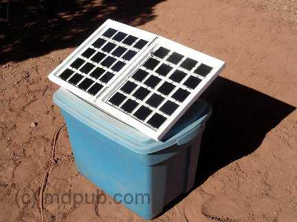 A home-made folding 15 Watt solar panel