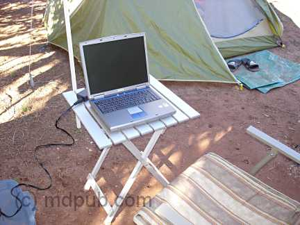 My laptop computer powered by the wind turbine