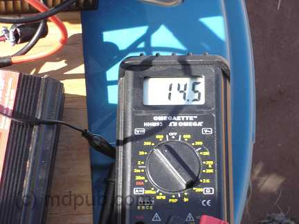 Meter showing 14.5 Volts