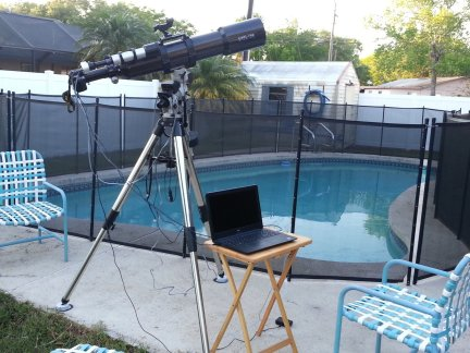 My 5 inch Explore Scientific refractor set up on my pool deck.
