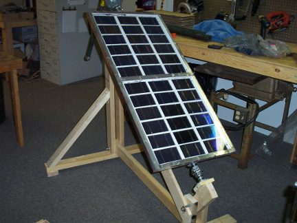 My home-built solar panel tracker set up and working.